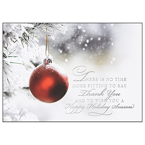A Time for Thanks Personalized Christmas Cards - Canopy Street - 25 Folded Cards with Silver, Foil-Lined Envelopes (0496) (Cards Christmas Business For Personalized)