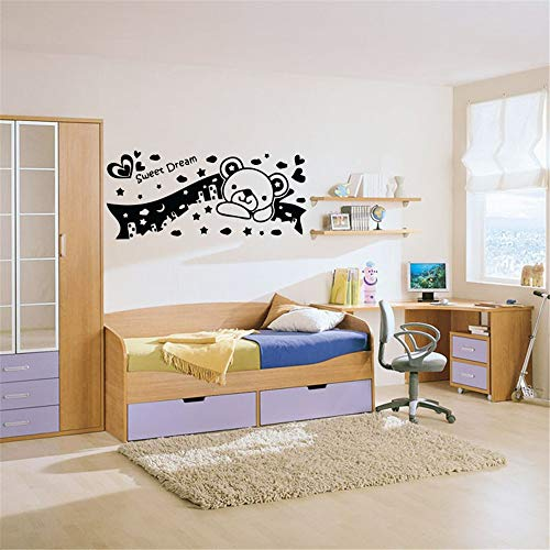Vinyl Wall Decal Wall Stickers Art Decor Peel and Stick Mural Removable Decals A Teddy Bear in Dreamy Night Kids for Bedroom Nursery Kids Room