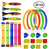25pcs Underwater Swimming/Diving Pool Sets, Diving Rings(4pcs), Diving Sticks (5pcs), Toypedo Bandits(4Pcs) with Under Water Treasures (12Pcs) for Pool Sinking Swimming Game Underwater Training Play