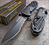 Tac-force Black Stainless Steel Half Serrated  Rescue Glass Breaker Knife