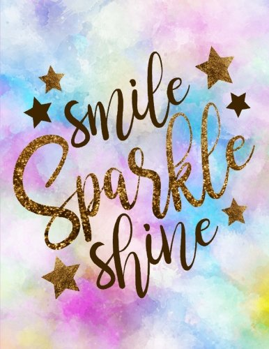 smile sparkle shine lined notebook watercolor cover
