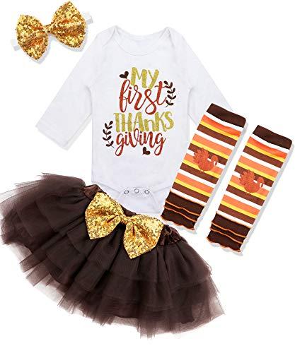 Baby Girl First Tanksgiving Outfit My 1st Tanksgiving Romper + Leg Warmers + Headband+Tutu Dress Clothing Set 0-3 Months