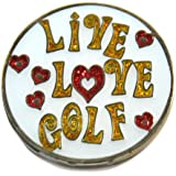 Navika Live Love Golf Glitzy Ball Marker with Hat Clip