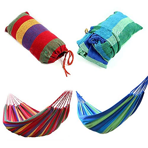 Amazing Portable Outdoor Garden Hammock Hang Bed Sports Home Travel Camping Swing Canvas Stripe Hang Bed Drop Shipping