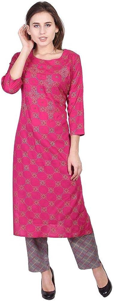 Vihaan Impex Indian Kurti Damen Lange Kleider lang indische Tunika VIKU8049