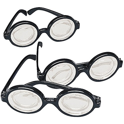 Mad Scientist Glasses (Black Frame Nerd Glasses (12 Pack) Plastic. Costume Party Favors)