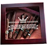 Father of the Groom Crown Design Custom Glass Top Wood Cigar Humidor Groomsmen Wedding and Unique Christmas Gifts