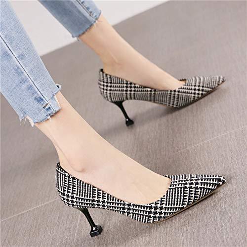 HRCxue HRCxue HRCxue Zapatos de la Corte Moda Puntiaguda Retro Solo Zapatos de la Personalidad de la Mujer Tacones de Aguja, 38, Rejilla Negro 6b0b78