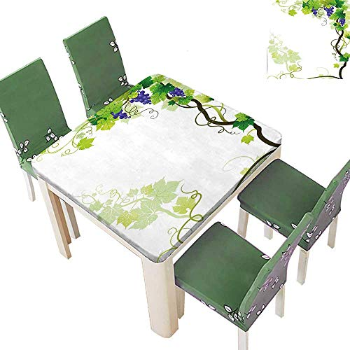 Printsonne Indoor/Outdoor Frame with Swirled Fresh Cluster Garden Plant Lush Design Purple Green Kitchen Tablecloth Picnic Cloth 50 x 50 Inch (Elastic Edge) -