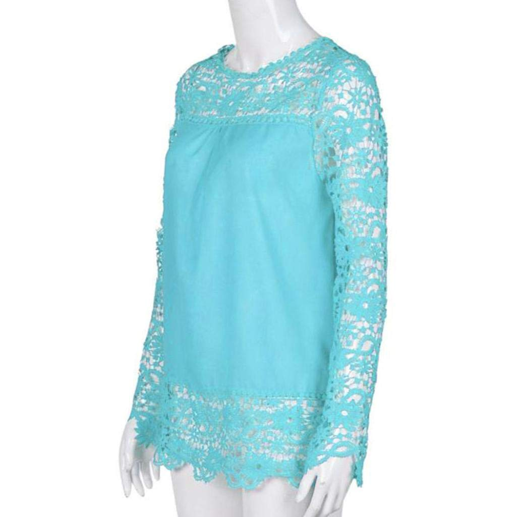 iQKA Women Plus Size Hollow Out Lace Splice Long Sleeve Shirt Casual Blouse Loose Top(Light Blue,Medium) by iQKA (Image #2)