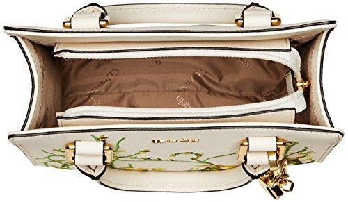 1821ea0d8 Calvin Klein Logan Saffiano Leather Floral Applique Crossbody, White ...