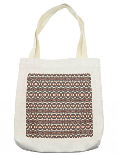 Lunarable Ethnic Tote Bag, Eastern Mandala Flowers Pattern with Persian Bohemian Oriental Arabian Artsy Effects, Cloth Linen Reusable Bag for Shopping Groceries Books Beach Travel & More, Cream by Lunarable