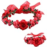 Love Sweety Rose Flower Crown Wreath Wedding Headband Wrist Band Set (Red)