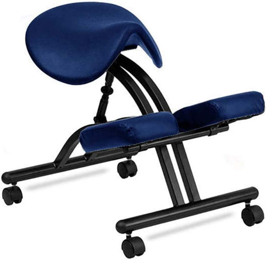 YKHOME Silla ergonómica de Rodillas, Taburete de Postura con ángulo y Altura Ajustable, Silla de Oficina arrodillada modelar el Cuerpo y aliviar el estrés,Azul