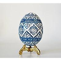 Baptism gift Blue pysanka Ukrainian Pysanky real chicken egg shells