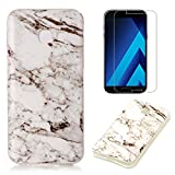 For Samsung Galaxy A5 2017 A520 Marble Case with Screen Protector ,OYIME Creative Glossy Gray & White Marble Pattern Design Protective Bumper Soft Silicone Slim Thin Rubber Luxury Shockproof Cover