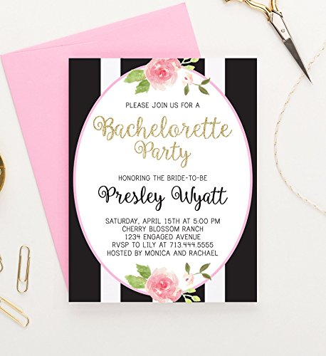 Floral Bachelorette Party Invitation, Faux Gold Glitter Bachelorette Party Invitation, Bachelorette Party Invites, Invitations for Bachelorette Party, Your choice of quantity and envelope color, (Invites Flat Printed)