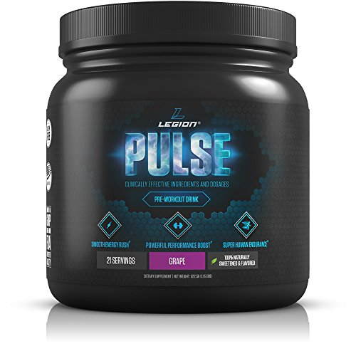 Legion Pulse Pre Workout Supplement - All Natural Nitric Oxide Preworkout Drink to Boost Energy & Endurance. Creatine Free, Naturally Sweetened & Flavored, Safe & Healthy. Grape, 21 Servings (Creatine Fuel Pump)