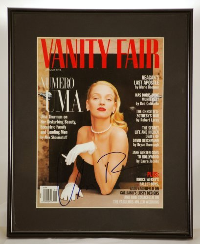 (Custom Black Metal Framed & Matted - Uma Thurman In Person Signed Vanity Fair Cover - Signed in Blue Sharpie - Measures 11.5x14 Inches - Rare - One of a Kind - Collectible)