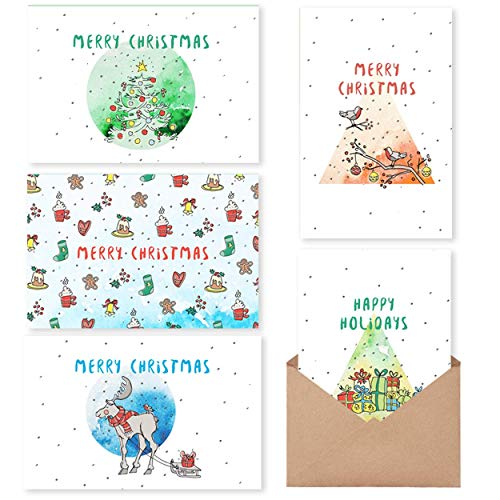 Christmas Cards Boxed Holiday Cards with Message Inside - 30 Adorable Xmas Cards with Gummed Kraft Envelopes - 6 Unique Designs -