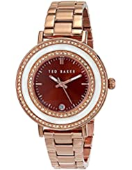 Ted Baker Womens TE4107 Vintage Glam Rose-Gold Tone Stainless Steel Rhinestone-Accented Watch