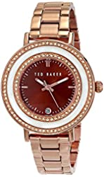 """Ted Baker Women's TE4107 """"Vintage Glam"""" Rose-Gold Tone Stainless Steel Rhinestone-Accented Watch"""