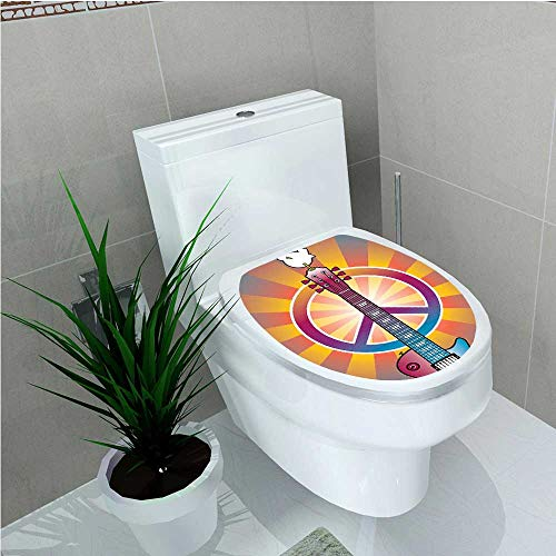 Bathroom Toilet seat Sticker Decal Colorful Illustration of Guitar Peace Symbol and Dove Dedicated to The Woodstock Artsy W8 x ()