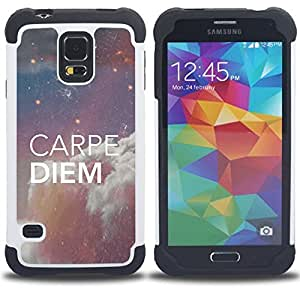 For Samsung Galaxy S5 I9600 G9009 G9008V - carpe diem quote sky stars night space Dual Layer caso de Shell HUELGA Impacto pata de cabra con im??genes gr??ficas Steam - Funny Shop -