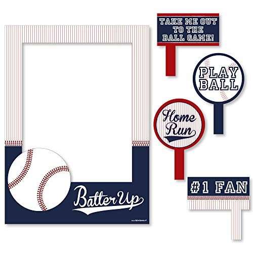 Big Dot of Happiness Batter Up - Baseball - Birthday Party or Baby Shower Selfie Photo Booth Picture Frame & Props - Printed on Sturdy Material]()