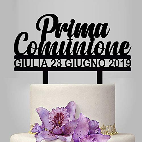 PotteLove Customized Name Date Italian First Communion Acrylic Cake Topper For Kids Eerste Heilige Communie Party Cake Decoration -