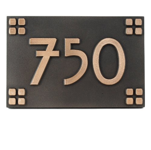- Atlas Signs and Plaques Willow Craftsman Address Plaque Squares Only 12X8 - Made in USA - Raised Bronze Coated Sign