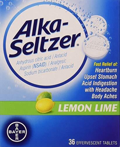 Alka-Seltzer Effervescent Lemon Lime - 36 Tablets, Pack of 2