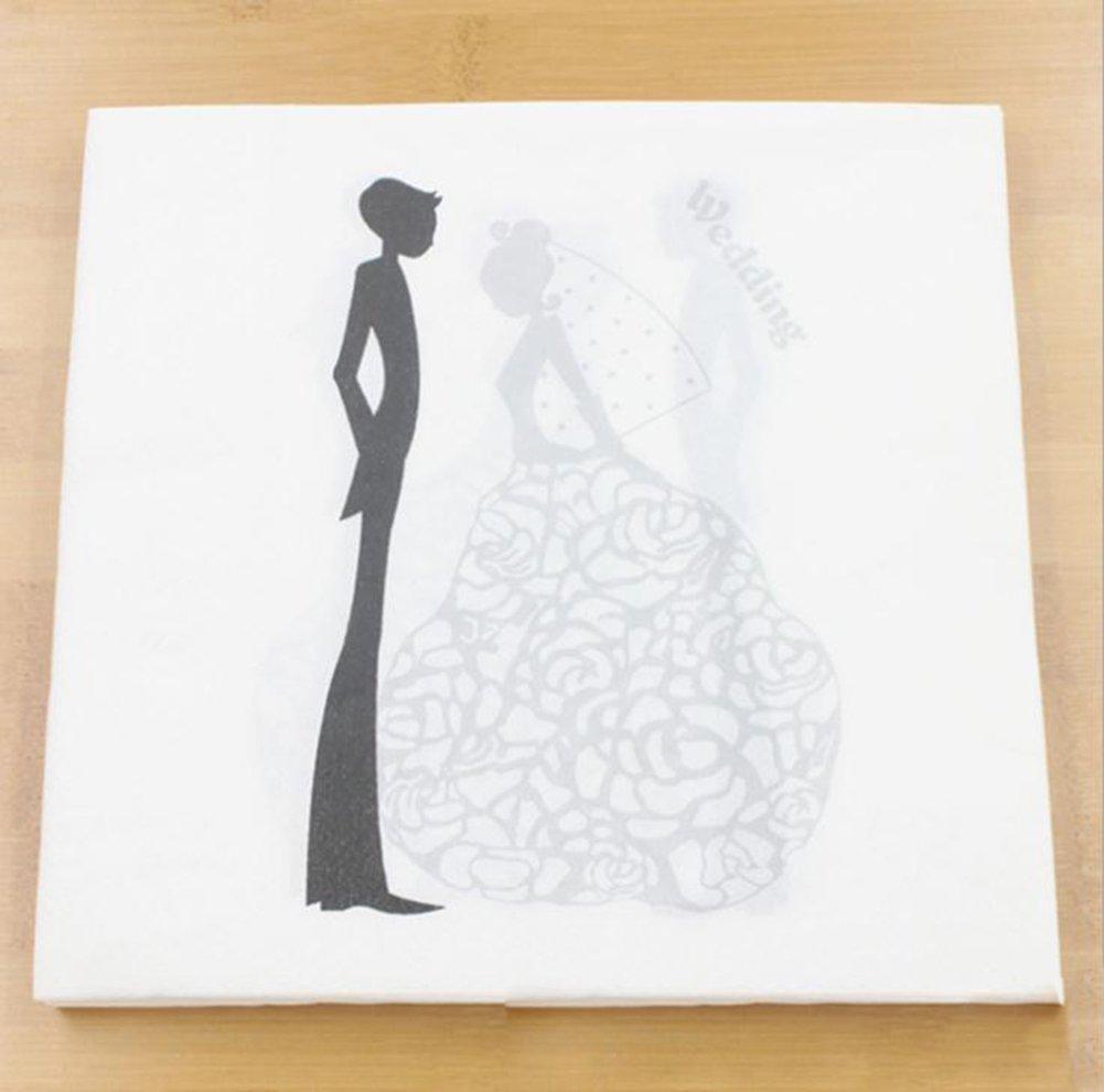 Leisial/™ Serviettes de Mariage Impression de Serviettes Papier de Soie D/écoration de Mariage pour Cadeau de la Saint