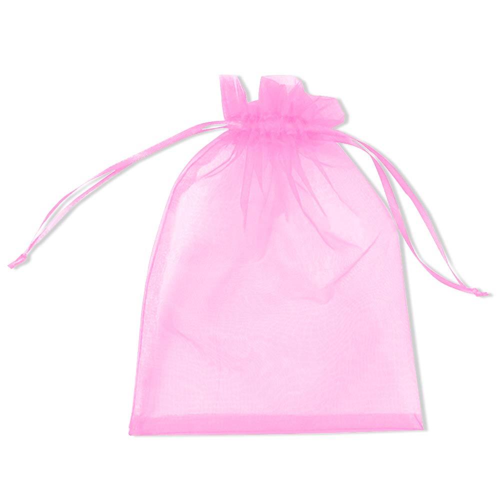 PLECUPE 100 Pcs Bolsa Organza Organza Bags, 20x30cm Transparente Organza Joya Bolsas Fiesta de Boda Bolsas de Regalo - Rosado