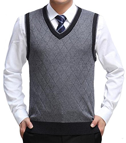 DD.UP Men's V-Neck Business Gentleman Argyle Pattern Knitted Sweater Vest ()