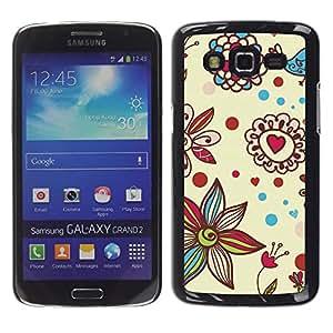Be Good Phone Accessory // Dura Cáscara cubierta Protectora Caso Carcasa Funda de Protección para Samsung Galaxy Grand 2 SM-G7102 SM-G7105 // Petal Bloom Hearts Valentines