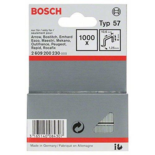 Bosch 2 609 200 230 - Grapa de alambre plano tipo 57-10, 6 x 1, 25 x 8 mm (pack de 1000) 2609200230
