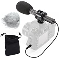 Movo On-Camera Stereo Video Microphone with Windscreens & Case for Canon EOS 80D, 77D, 70D, 60D, 7D, 7D Mark II, 6D, 5DS, 5D, 5D Mark IV, 1D, Digital Rebel SL1, T7i, T6s, T6i, T5i, T4i & T3i DSLR