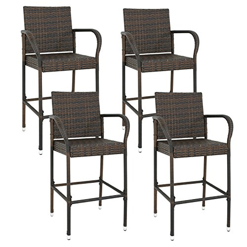 Nova Microdermabrasion Rattan Wicker Bar Stool Outdoor Backyard Chair Patio Furniture Chair With Armrest – Set of 4 (4) - Wicker Outdoor Bar Stools