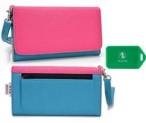 Huawei Premia*Ladies Dual Color baby blue/magenta Wristlet PLUS bonus Neviss luggage tag*
