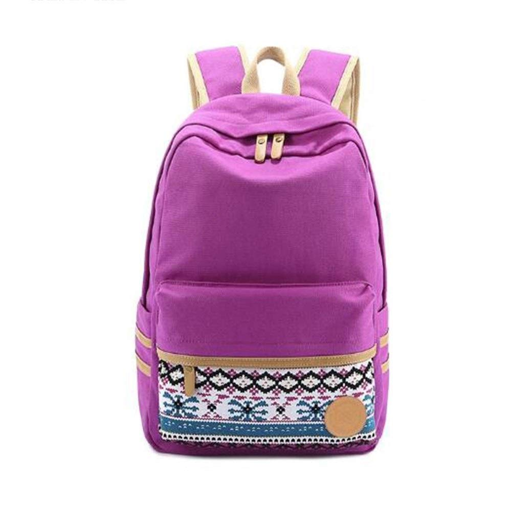 Purple 1711.85.5 inch HAOYUSHANGMAO Ladies' Canvas Bag, Backpack, Travel Bag, Fashion Student Canvas Bag, 15 Inches latest models