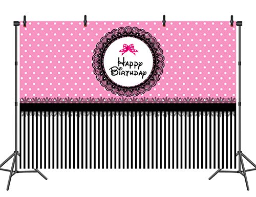 Sensfun Happy Birthday Backdrop for Girls Customized Pink