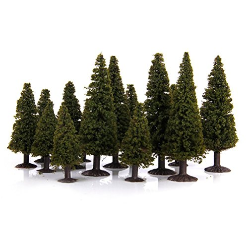 (WINOMO 15pcs Green Scenery Landscape Model Cedar Trees)