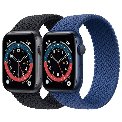 2 Pack Braided Solo Loop Sport Bands Compatible for Apple Watch Band 38mm 40mm 42mm 44mm Soft Stretchy Wristband Women Men Elastic Strap Compatible for iWatch Series 6/SE/5/4/3/2/1