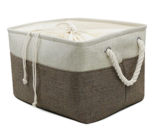 Collapsible linen Storage Bins, Magazine Storage Basket, Portable Shelf Storage Box, Closet/ Wardrobe/ Attic Organizer Container, Coffee