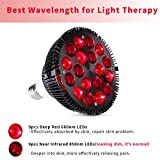 Red Light Therapy Lamp, Wolezek 36W 18 LED Infrared Light Therapy Device, 660nm Red and 850nm Near Infrared Combo Red Light Bulb for Skin and Pain Relief