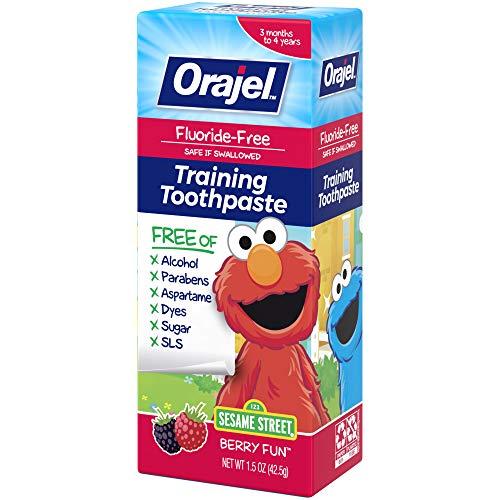 51KtTDLiwfL - Orajel Elmo Fluoride-Free Training Toothpaste, Berry Fun, One 1.5oz Tube: Orajel #1 Pediatrician Recommended Brand For Kids Non-Fluoride Toothpaste