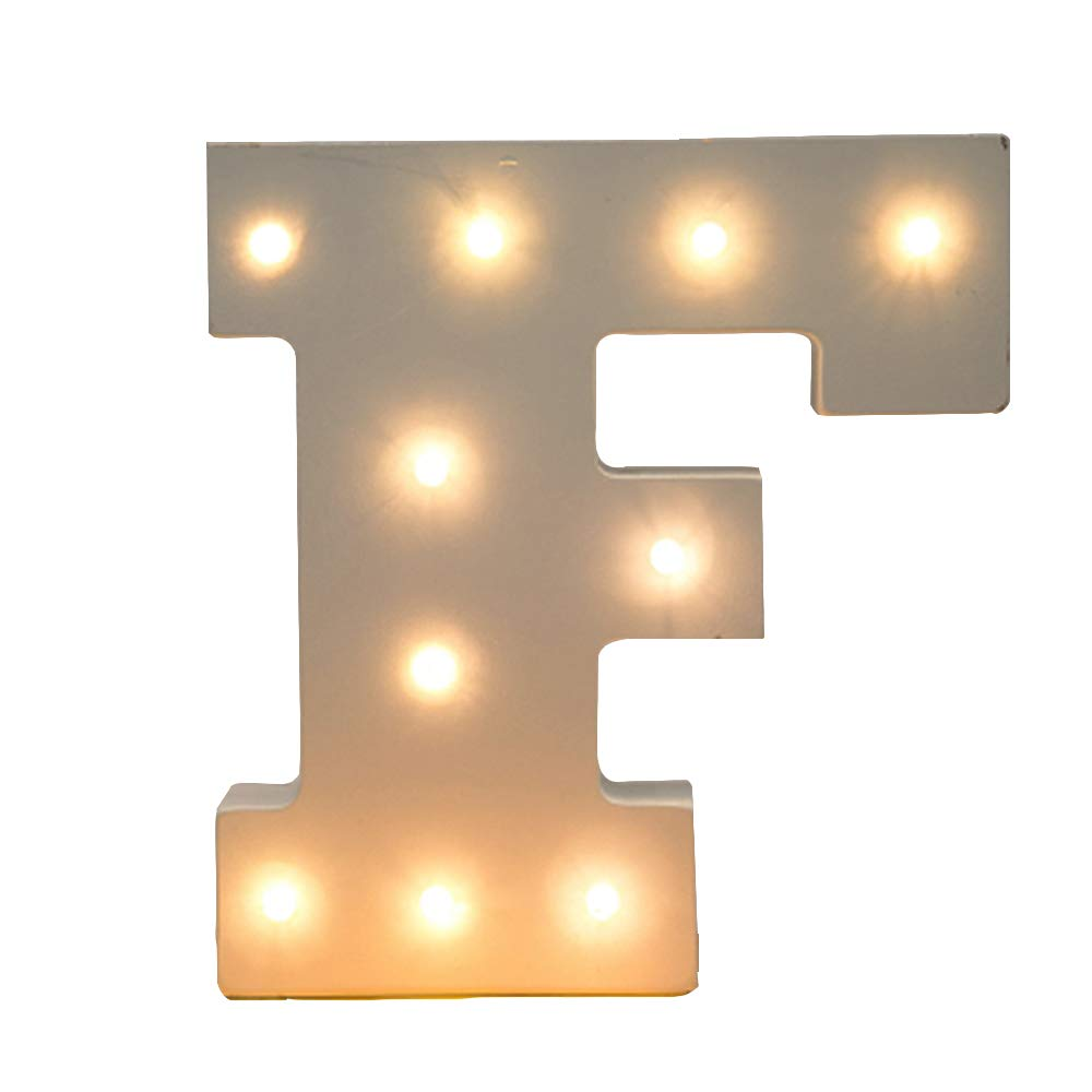 Kerong DIY LED Light Up Wooden Alphabet Marquee Letter Lights for Festival Decorative Home Party Wedding Scene Holiday Birthday Christmas Valentine,Battery Operated Warm White (F)