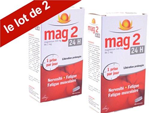 Mag2 24H – Magnésium – libération prolongée – Nervosité – fatigue – fatigue musculaire – lot 2×45 Comprimés