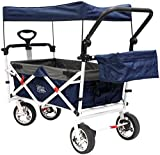 Cheap Creative Outdoor Distributor Push Pull Wagon for Foldable with Sun/Rain Shade (Navy)
